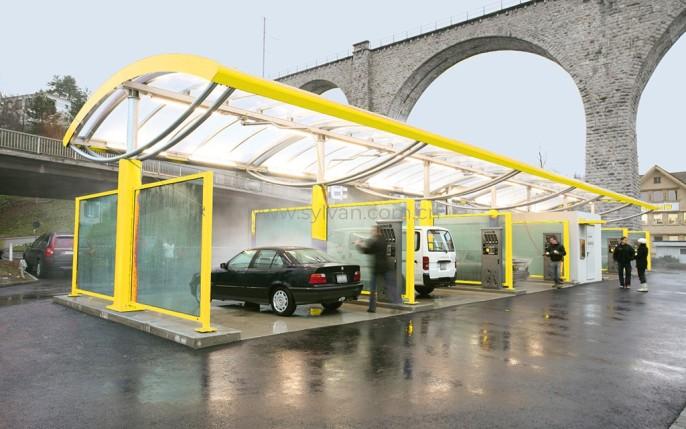 汽修厂外观设计效果图-加纳洗车站-卓一设计