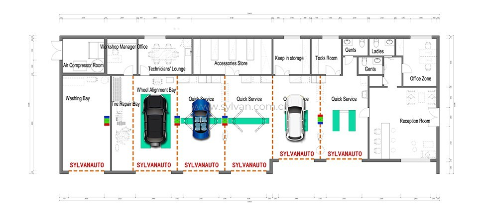 Automotive Quick Repair Service Design Project - Construction Drawing - JoyDesign