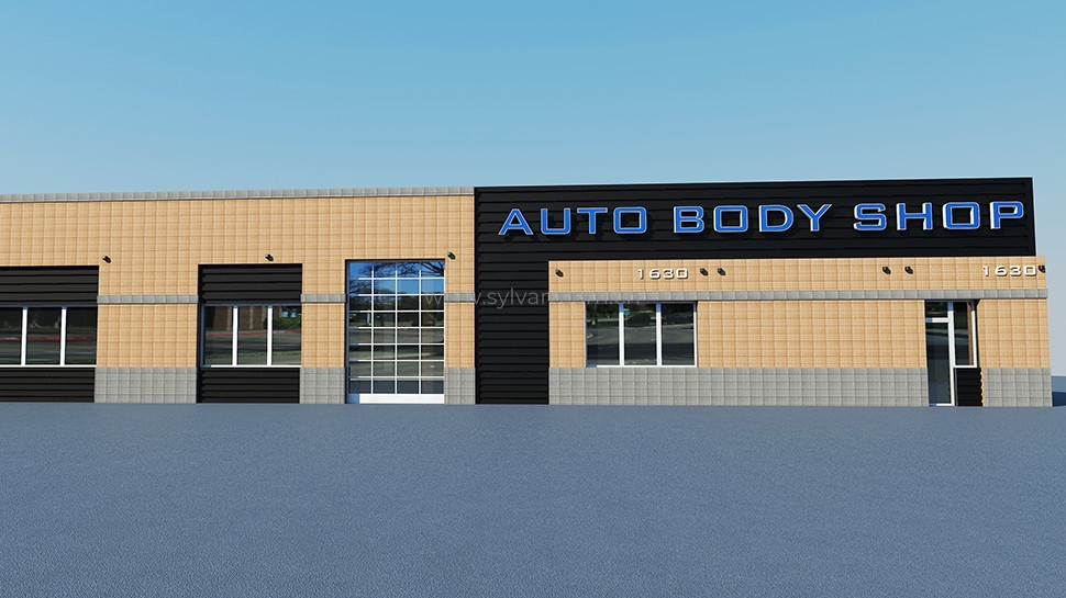 Auto Body and Paint Shop Design Project - Building Exterior - JoyDesign