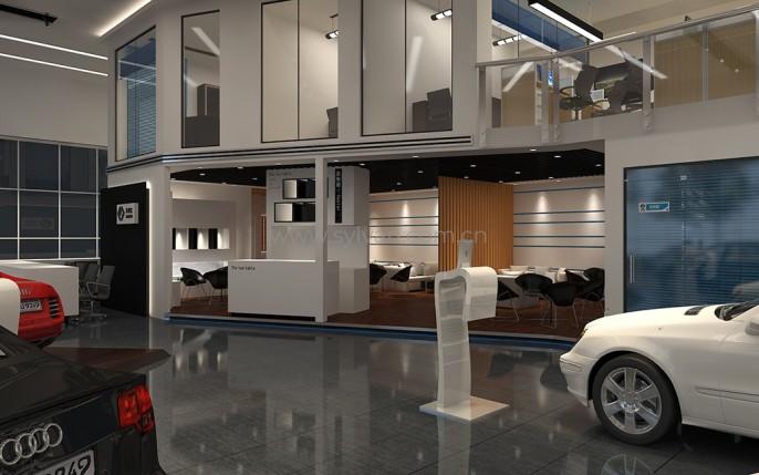 汽修厂接待设计效果图-车峰汇-卓一设计