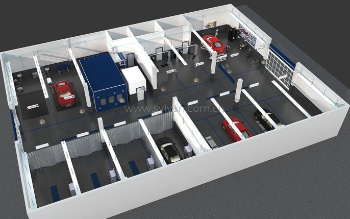 General Automotive Repair Shop Design Project - Workshop Area - JoyDesign