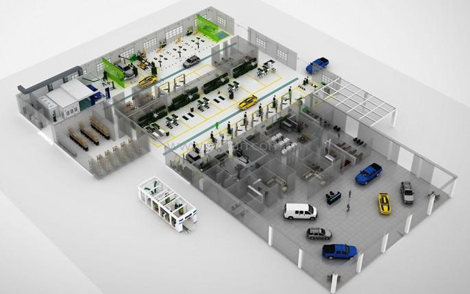 汽修店车间设计-美国雪佛兰4S店-卓一设计