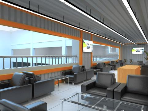汽修厂二层休息区装修设计效果图-晶宫集团-卓一设计